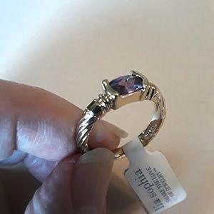 Lia Sophia NWT Amethyst Goldtone Ring Size 7
